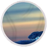 Ice Cube Sky 3 Round Beach Towel