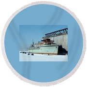 Ice Fishing On Lake Erie Round Beach Towel