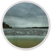 Ice Flow Mississippi River Round Beach Towel