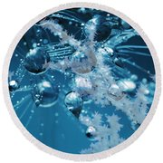 Ice Flower Abstract Round Beach Towel
