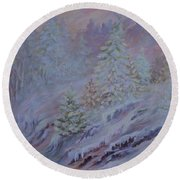 Ice Fog In The Forest Round Beach Towel