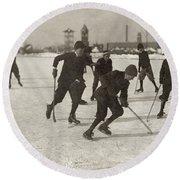 Ice Hockey 1912 Round Beach Towel
