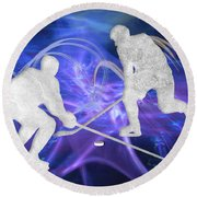 Ice Hockey Players Fighting For The Puck Round Beach Towel