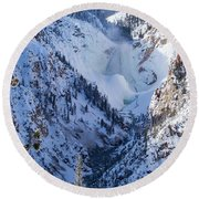 Ice In The Falls Round Beach Towel