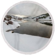 Ice In The River Round Beach Towel