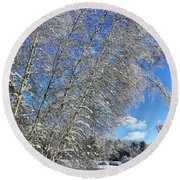 Ice Laden Birches Round Beach Towel