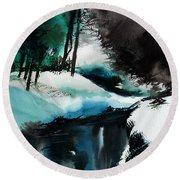 Ice Land Round Beach Towel