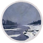 Ice On The Seine At Bougival Round Beach Towel