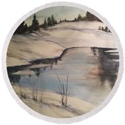 Ice Pond Round Beach Towel