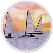 Ice Sailing On The Gouwzee In The Countryside From The Netherlan Round Beach Towel