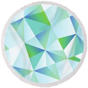 Ice Shards Abstract Geometric Angles Pattern Round Beach Towel