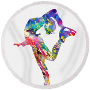 Ice Skater-colorful Round Beach Towel
