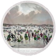Ice Skating, C1859 Round Beach Towel