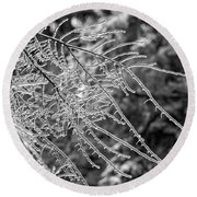 Ice Storm 2 - Bw Round Beach Towel