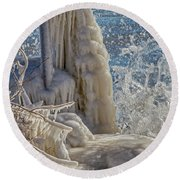 Ice Structures Round Beach Towel