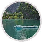 Ice Tracy Arm Alaska Round Beach Towel