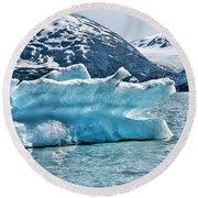 Iceberg Glacier Alaska  Round Beach Towel