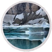 Iceberg Lake Icebergs Round Beach Towel