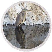Iced Heron Round Beach Towel