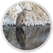 Iced Heron Round Beach Towel