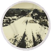 Iced Over Road Round Beach Towel