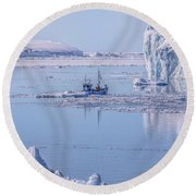 Icefjord In Greenland Round Beach Towel