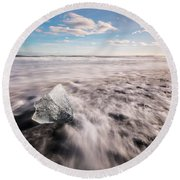 Iceland And Glaciers Round Beach Towel