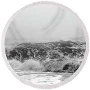 Iceland Black Sand Beach Wave Three Round Beach Towel