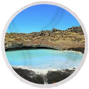 Iceland Blue Lagoon Exploring The Lava Fields Round Beach Towel