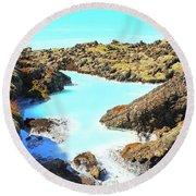 Iceland Blue Lagoon Healing Waters Round Beach Towel
