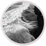 Iceland Coast Dyrholaey Black And White Round Beach Towel