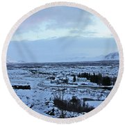 Iceland Country Side Clouds Mountains Stream Iceland Rocks Lake Clouds Iceland 2 2112018 0971 Round Beach Towel