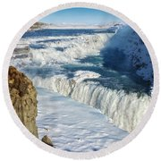Iceland Gullfoss Waterfall In Winter With Snow Round Beach Towel