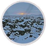 Iceland Lava Field Sunrise Mountains Clouds Iceland 2 2112018 1024jpg Round Beach Towel