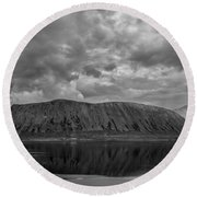 Iceland Mountain Reflections Bw Round Beach Towel