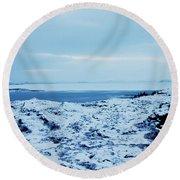 Iceland Rocks Lake Clouds Iceland 2 2112018 0935 Round Beach Towel