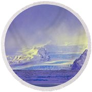 Iceland Sunrise Glacier Lava Field Sunrise Mountains Clouds Iceland 2 2122018 1882.jpg Round Beach Towel