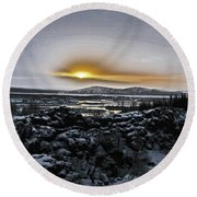 Iceland Sunrise Iceland Lava Field Streams Sunrise Mountains Clouds Iceland 2 2112018 1095.jpg Round Beach Towel