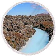 Iceland Tranquil Blue Lagoon  Round Beach Towel