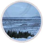 Iceland Trees Mountains Rivers Lakes Iceland 2 2112018 0942 Round Beach Towel