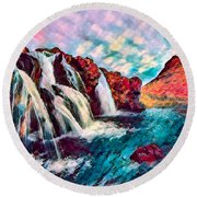 Iceland Waterfalls Round Beach Towel