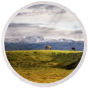 Icelandic Horses On The Countryside  Round Beach Towel