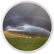 Icelandic Rainbows Round Beach Towel