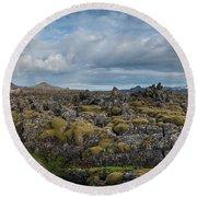 Icelands Mossy Volcanic Rock Round Beach Towel