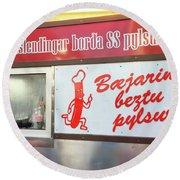 Iceland's World Famous Hot Dog Stand Iceland 2 3122018 J2328.jpg Round Beach Towel