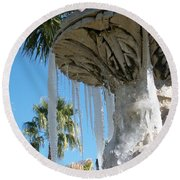 Icicles In A Palm Filled Sky Number 1 Round Beach Towel