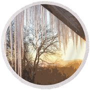 Icicles One Round Beach Towel