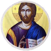Icon Of Christ In Jericho Round Beach Towel