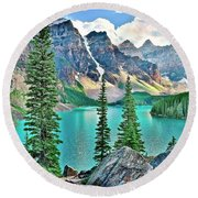 Iconic Banff National Park Attraction Round Beach Towel