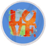Iconic Love - Grunge Round Beach Towel